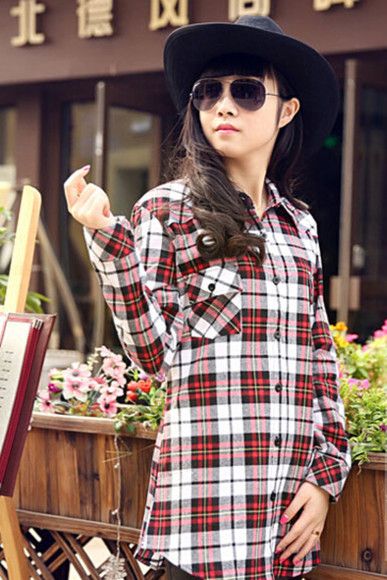 flannel shirt women's long-sleeve plaid shirt