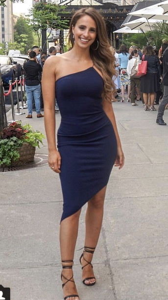d083c86e55 dress vanessa grimaldi bodycon asymmetrical one shoulder casual fall  outfits navy blue mini dress midi dress