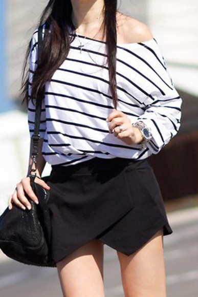 top shirt one sholder oversized shirt stripes