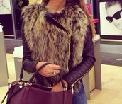 coat,jacket,fur,bag,leather,fur jacket,black,leather sleeves,faux fur jacket,leather jacket,fur vest,vest,raccoon,fluffy,faux fur,winter fall,@amma,beautiful,biker jacket,brown,fawn,sexy,hot,weste,fake skin,jewelry,chanel,winter outfits,leather fur,brand,price,fake fur jacket,black leather jacket,fur leather,black and fur jacket,classy,fury,warm,black jacket