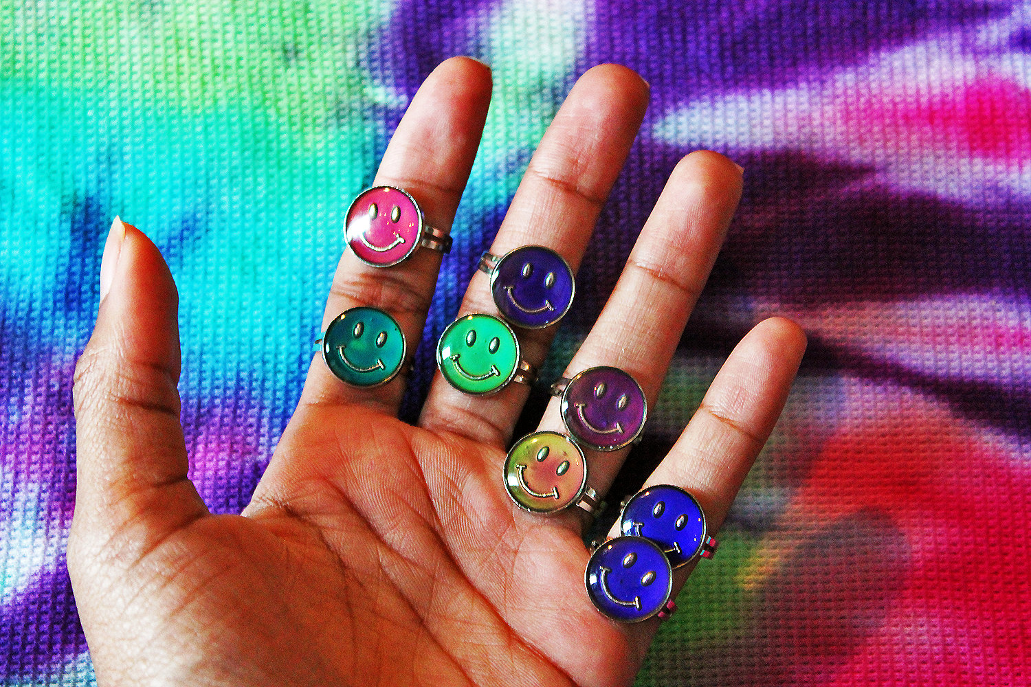 90's Sparkly / Glitter Smiley Adjustable Mood Rings