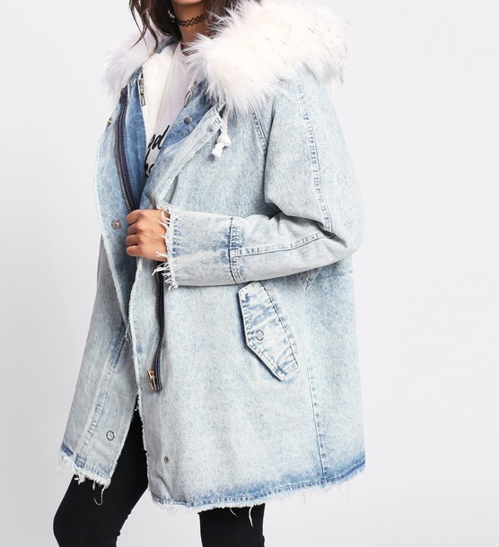 coat girly denim jacket denim long long coat fur fur coat