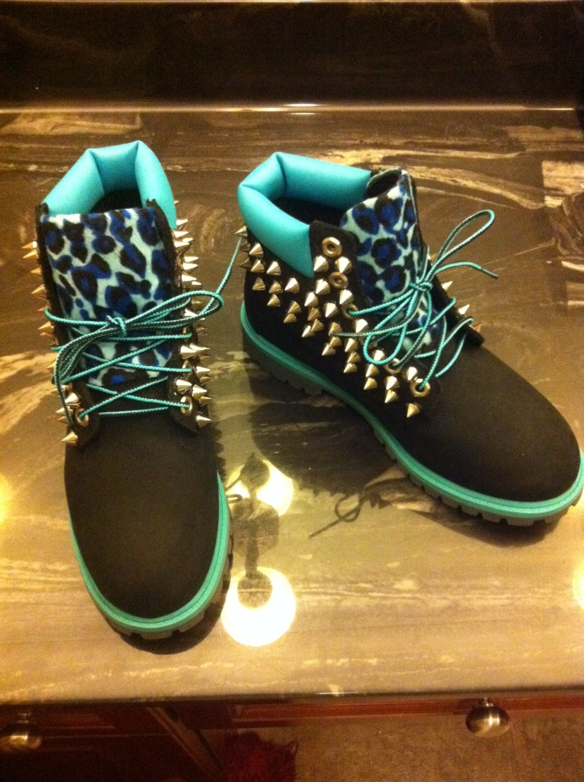 Turquoise/black leopard spiked timberland (junior sizes 3.5