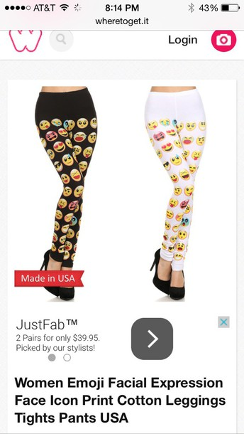 leggings emoji pants pajamas