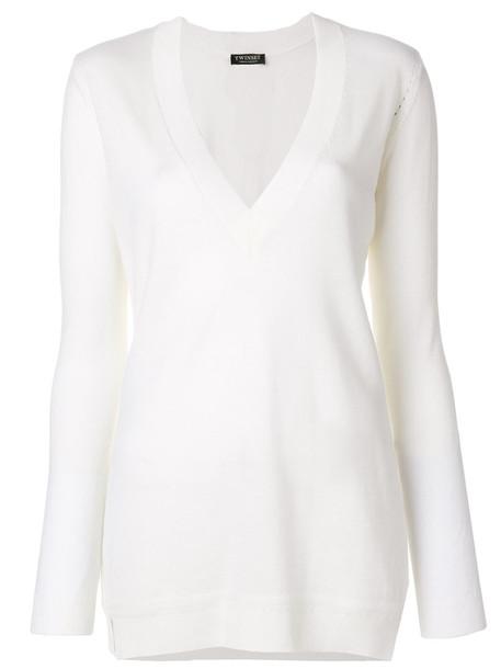 Twin-Set - V-neck sweater - women - Wool - S, White, Wool