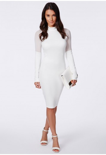 Missguided - Weneca Cream High Neck Midi Dress With Mesh Detail