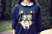 sweater,blue sweater,wolf,nice,hipster,navy