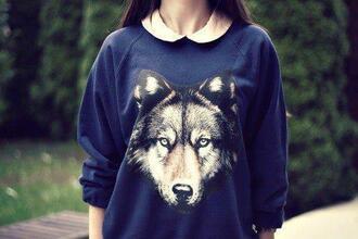 blue sweater sweater wolf nice
