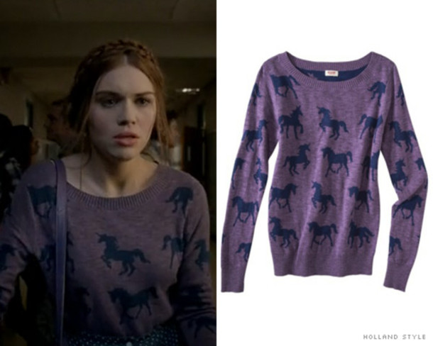 sweater teen wolf lydia martin holland holland roden outfit purple