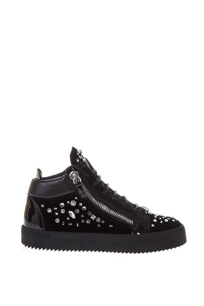Giuseppe Zanotti high embellished sneakers suede black shoes