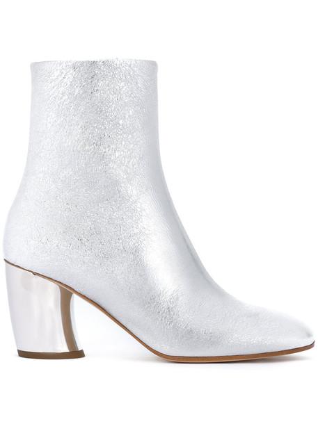 Proenza Schouler women booties leather grey metallic shoes