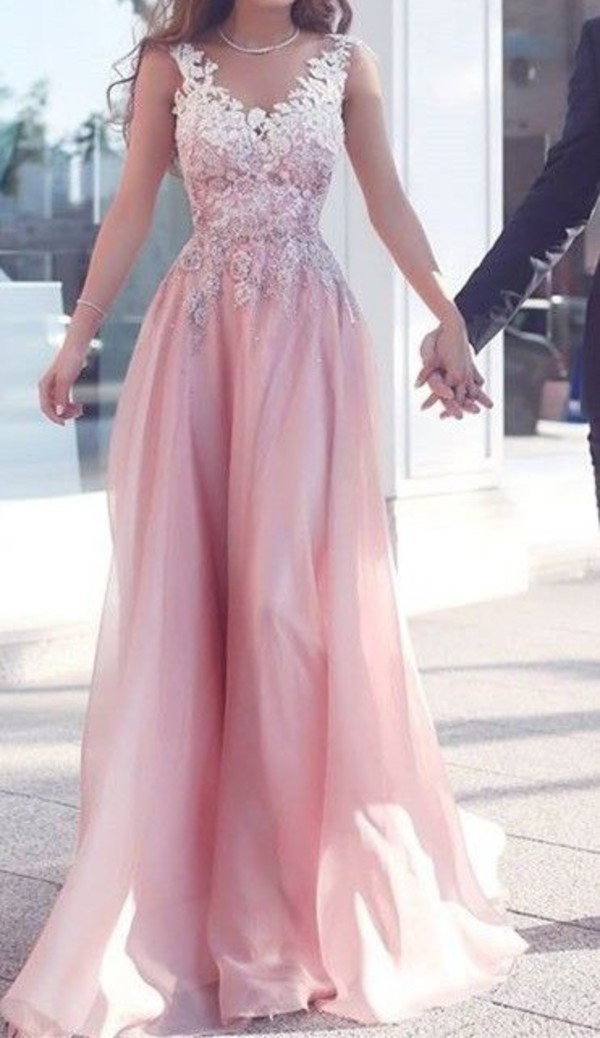 dress long dress formal homecoming prom gown pink dress pink flowers maxi dress