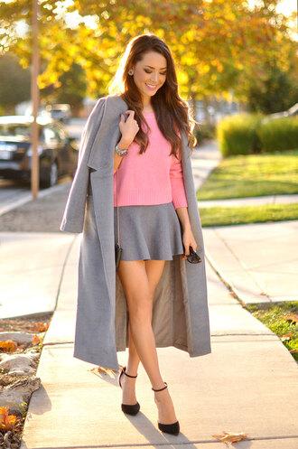 hapa time blogger bag jewels sunglasses flare skirt grey grey coat black heels sandals pink jumper