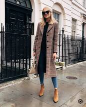 coat,wool coat,checkered,long coat,jeans,skinny jeans,ankle boots,black boots,handbag,sunglasses