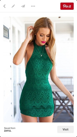 dress green lace halter neck