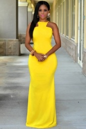 dress,maxi,slit,yellow,bright,length