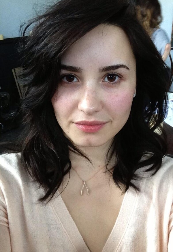 jewels silver jewelry jewelry wishbone necklace make-up no make-up look demi lovato celebrity singer beautiful