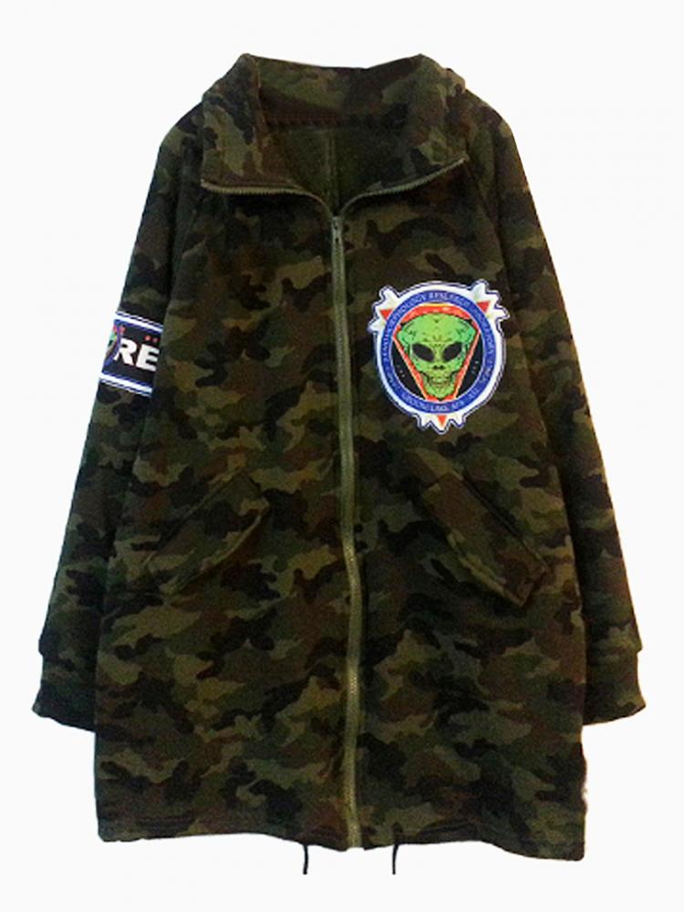 Camo Coat With Patched E.T | Choies