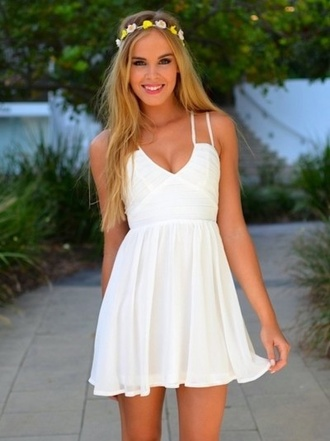 dress straps flowy white dress white summer dress summer little white dress pretty cute dress classy dress