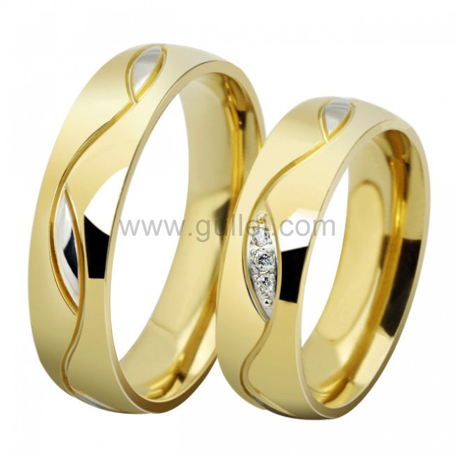 Engraved Gold Plated Titanium Wedding Bands With Names Personalized