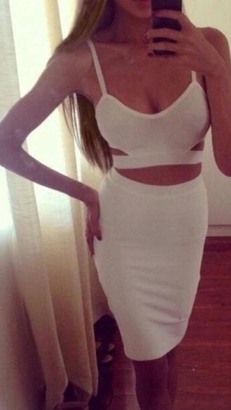 dress two-piece cut-out dress bodycon dress white dress