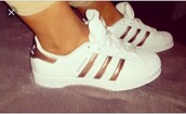 shoes,gold,adidas superstars rose gold,summer,summer shoes,cute,classy,sneakers,2016,sporty,sportswear,adidas,adidas superstars,adidas shoes,adidas originals,white,white shoes,rose gold,white sneakers,metallic,metallic shoes,sports shoes