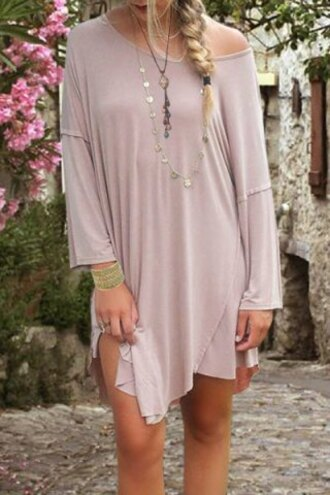 dress cute girly pink casual style scoop neck long sleeve spliced solid color women's dress spring summer trendy off the shoulder