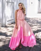 dress,maxi dress,pink dress,sandals