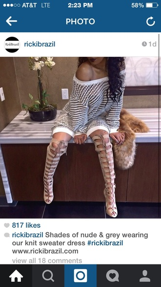 shoes lace up thigh-high boots