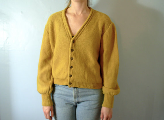 Vintage 50s Wool Cardigan Sweater Mustard Yellow Mens Size Large