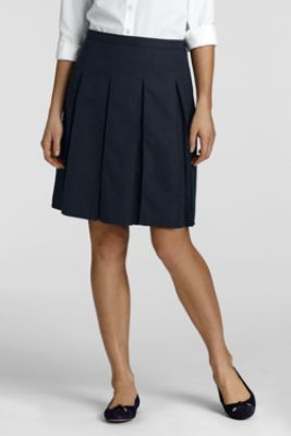 Women's At-the-knee Box Pleat Skirt from Lands' End