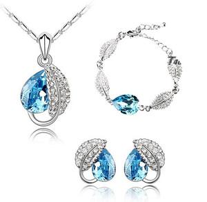Ocean Blue Crystal Leaf Jewellery Set Stud Earrings, Necklace & Bracelet S320 | Amazing Shoes UK