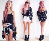 jacket,jumper,grunge,soft grunge,boots,tank top,pink hair,accessories,sunnies,white shorts,black belt,High waisted shorts,necklace,jewls,shorts,cardigan,punk