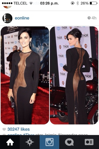 dress black dress long black dress mesh dress black sexy dress red carpet celebrity little black dress
