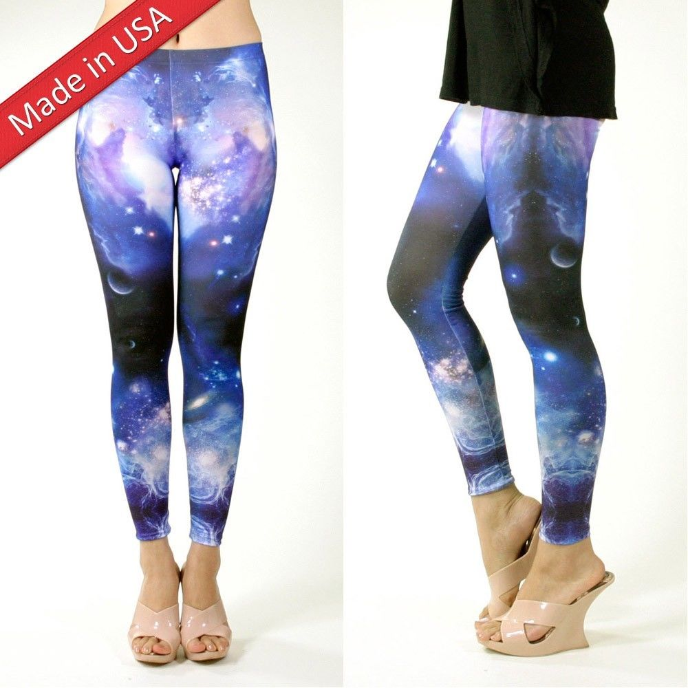 New Galaxy Blue Milky Way Starry Night Aurora Leggings Pants Tights Made in USA
