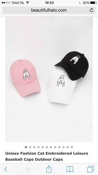 hat cap white pink black cats fashion summer light cute teenagers kawaii beautifulhalo