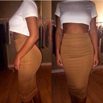 skirt skirt set crop tops crop top and pencil skirt pencil skirt pencil silhouette fashion clothes watermelon print romper high waiste shorts
