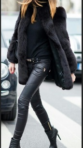 black,coat,leather pants,all black everything