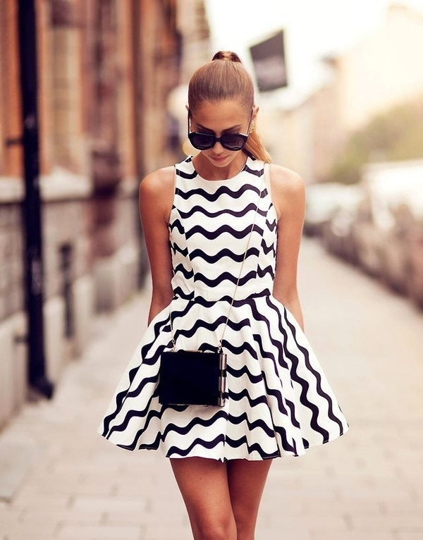 dress black and white dress