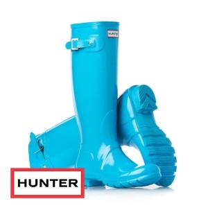 Hunter Original Tall Gloss Wellington Boots - Turquoise