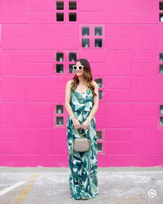 jumpsuit bamboo print sunglasses tumblr wide-leg pants white sunglasses bag handbag grey bag summer outfits