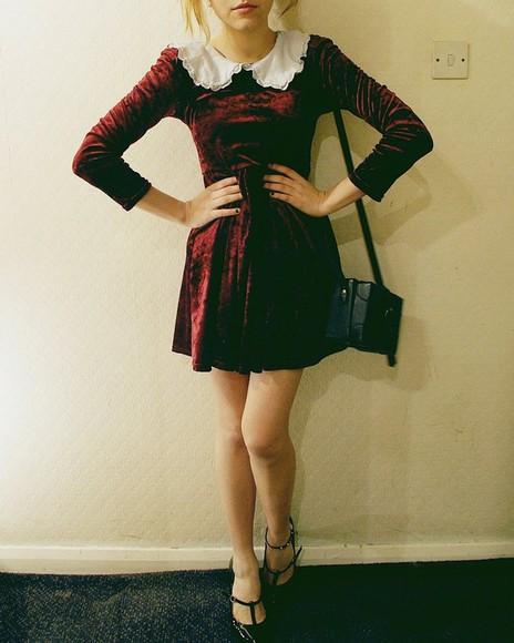 peter pan collar velvet burgundy peter pan collat dress a-line dress skater skirt skater dress grunge velvet dress red velvet red velvet dress
