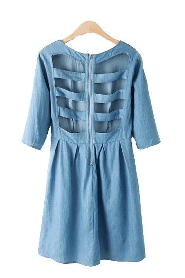 Blue Back Hollow-out Three Quarter Sleeves Denim Dress