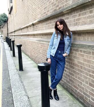 by funda blogger jeans denim jacket mom jeans jacket shoes