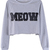 ROMWE | ROMWE PU MEOW Short Length Grey Sweatshirt, The Latest Street Fashion