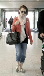 jacket,lily collins,scarf