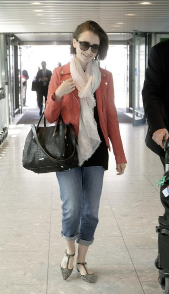lily collins jacket scarf