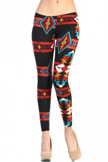 OMG AZTEC PRINT LEGGINGS FROM LOVE MELROSE- BLACK/MULTI