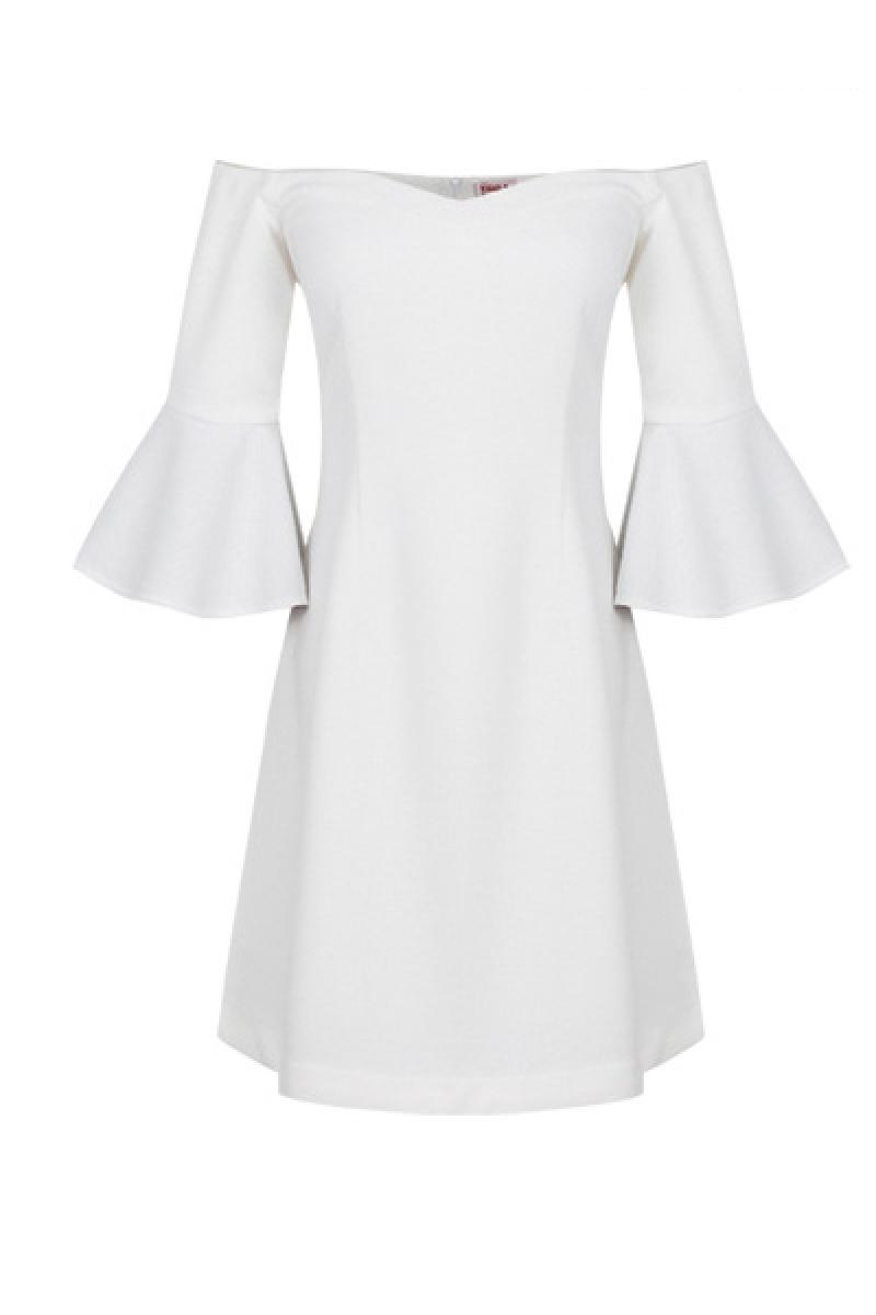 New Boat Neck Flare Sleeve Dress ,Cheap in Wendybox.com