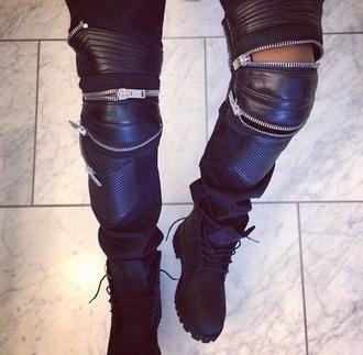 pants black weather zip shoes zipped pants